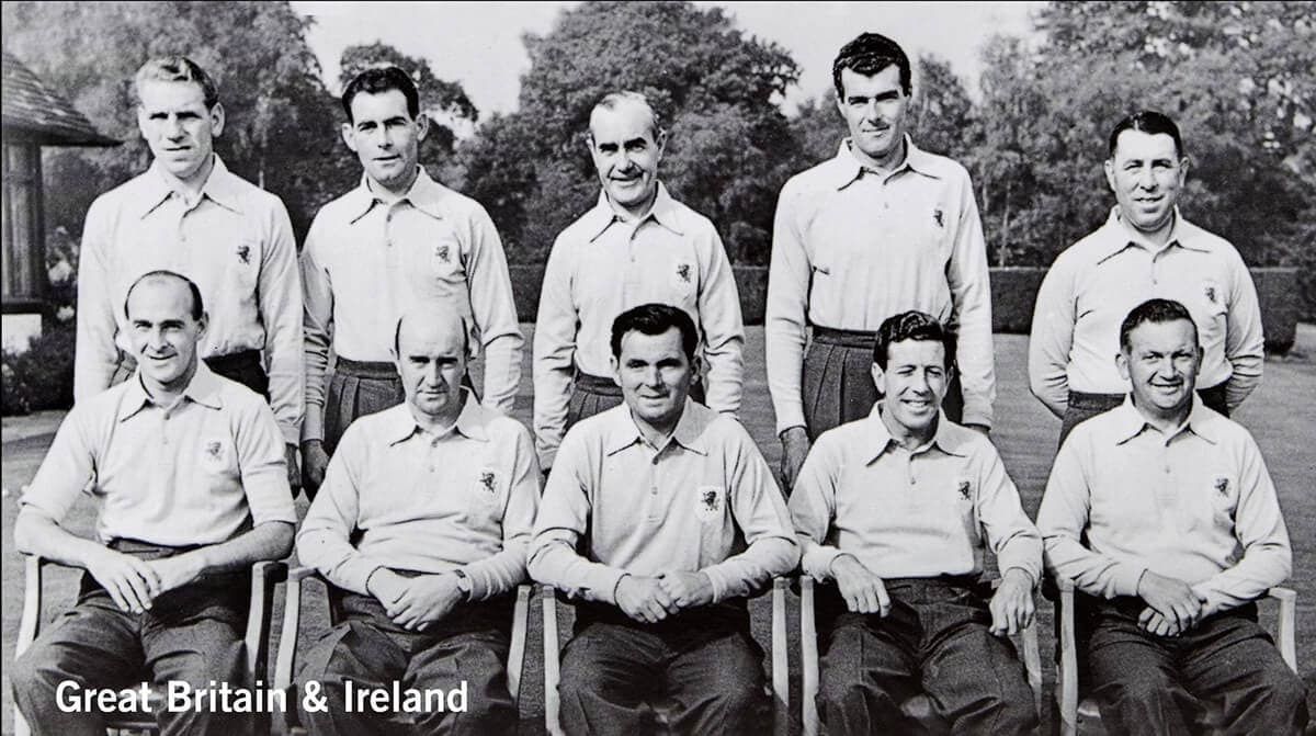 1955 - Thunderbird Golf Club, California. Great Britain & Ireland Team. November 5th & 6th. Final Score: U.S.A. 8 - Britain & Ireland 4.