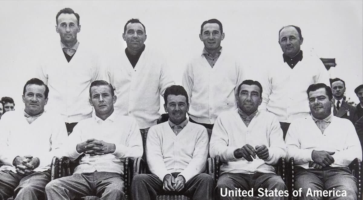 1957 - Lindrick Golf Club, Yorkshire. United States of America Team. October 4th & 5th. Final Score: Britain & Ireland 7 1/2 - U.S.A. 4 1/2.