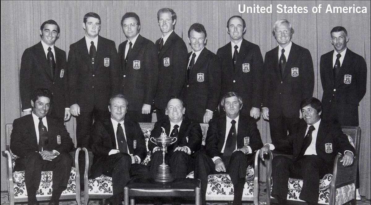 1973 - Muirfield, Scotland. United States of America Team. September 20th, 21st & 22nd. Final Score: U.S.A. 19 - Britain & Ireland 13.