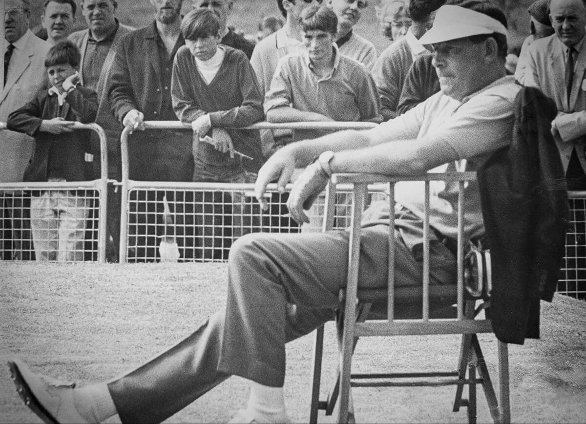 Christy in relaxed mode on the first tee at the 1968 Gallaher Ulster Open.