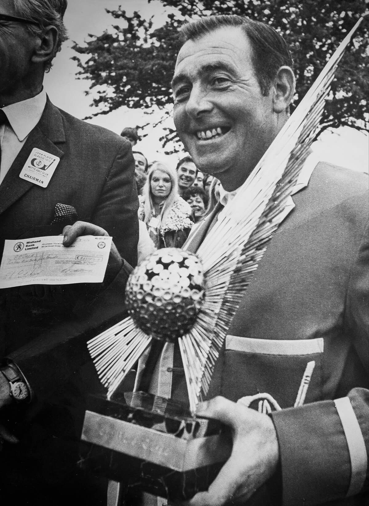 The John Player Classic at Notts. Golf Club (Hollinwell) September 1970. Christy O'Connor with a score of 286 (-2) defeated Tory Jacklin by one stroke to win the Trophy and a record winner's cheque of £25,000.