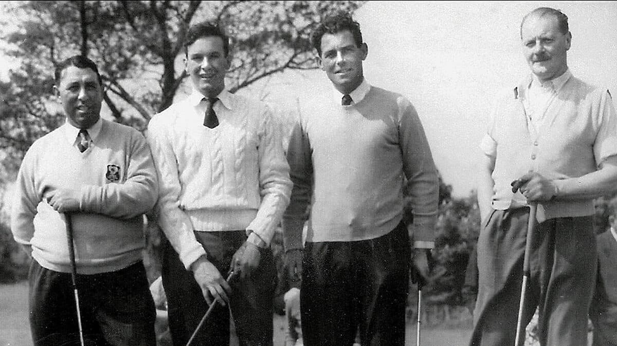 Exhibition Match at Omagh Golf Club 1954. Harry Bradshaw; Ian Bamford (International); Christy O'Connor; Sam Carlisle (Omagh Club Championship).