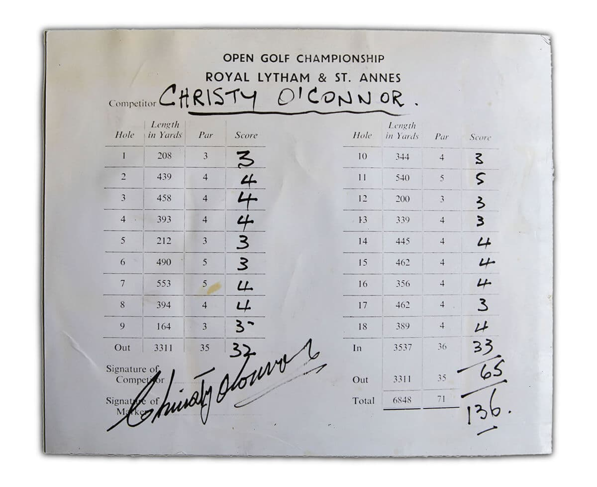 Christy O'Connor score card