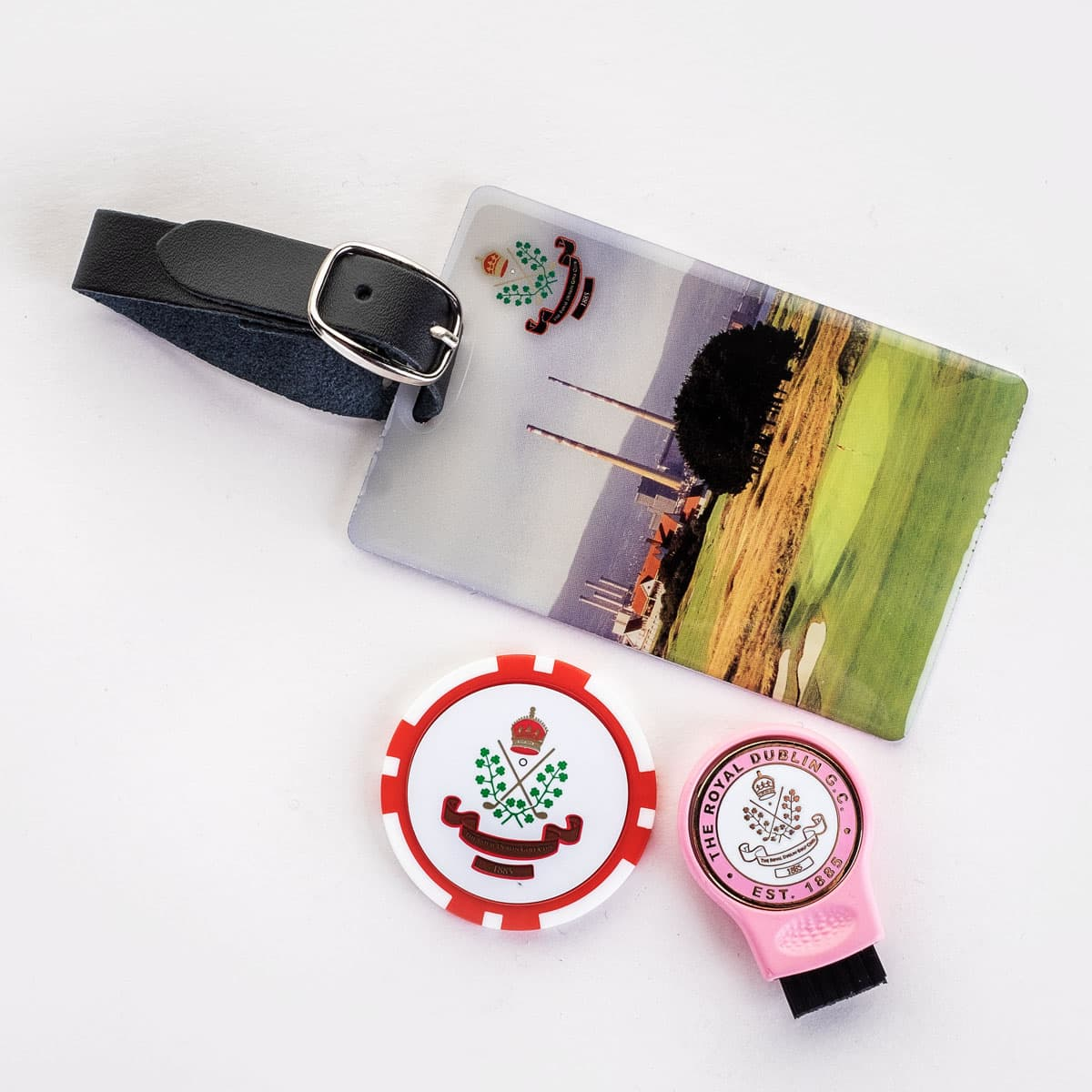 Bag tag, poker chip and groove brush combo set €15 or 2 for €25.