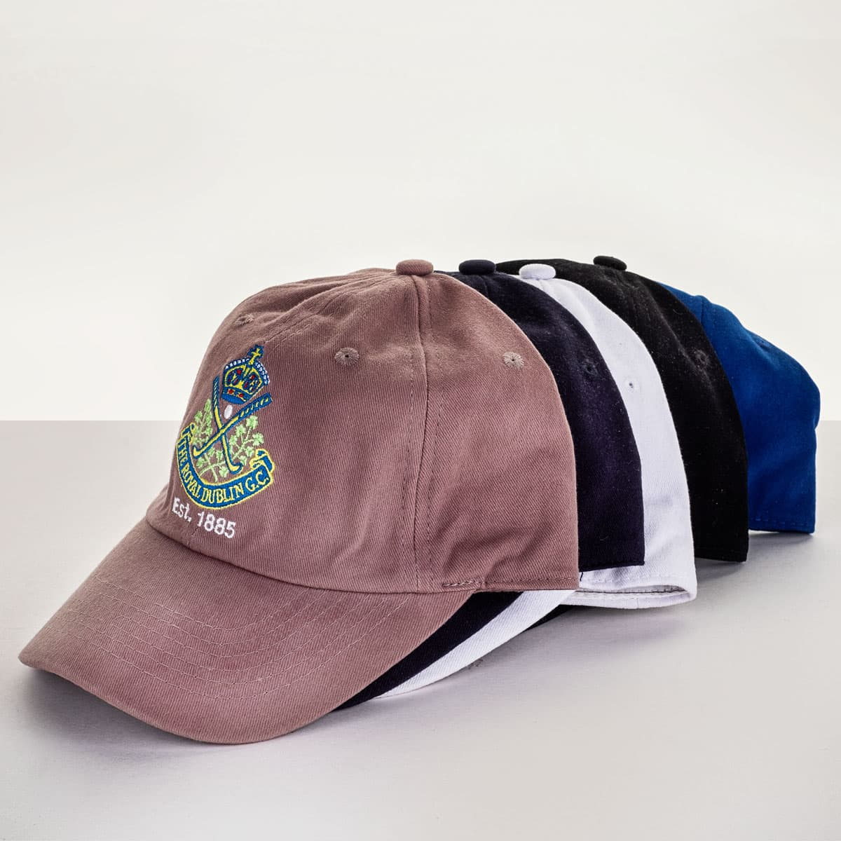 PRG baseball hats in five colours €24.95 or 2 for €40.