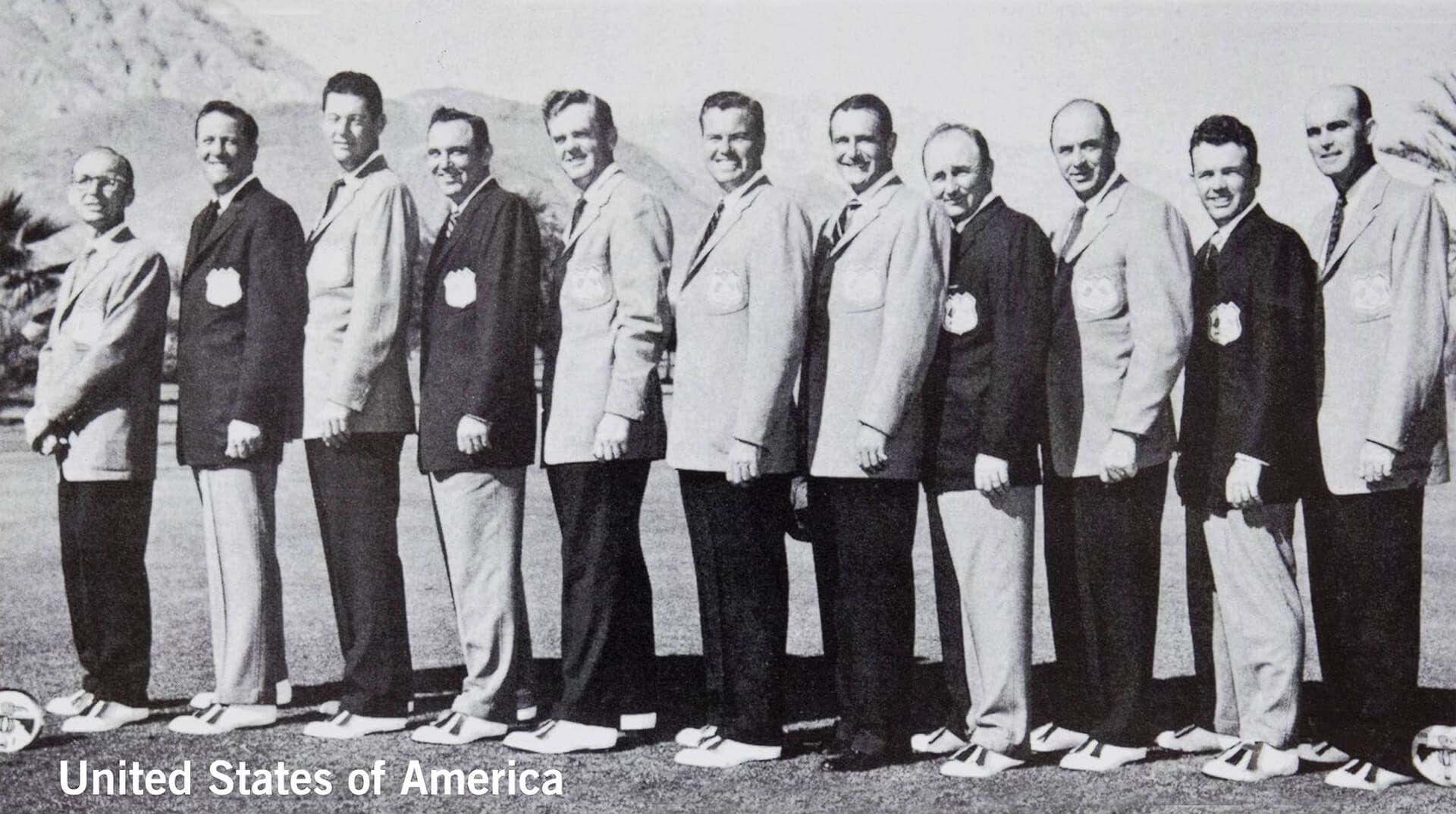 1955 Thunderbird Golf Club, California. USA Team. November 5th & 6th. Final Score: U.S.A. 8 - Britain & Ireland 4.